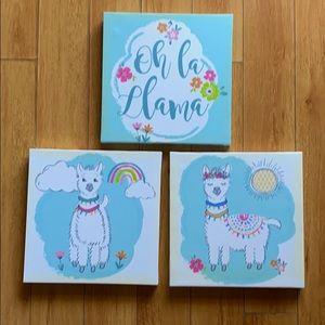 Three Llama Decorative Frames